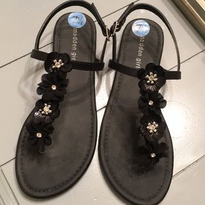 Madden girl black flower sandals